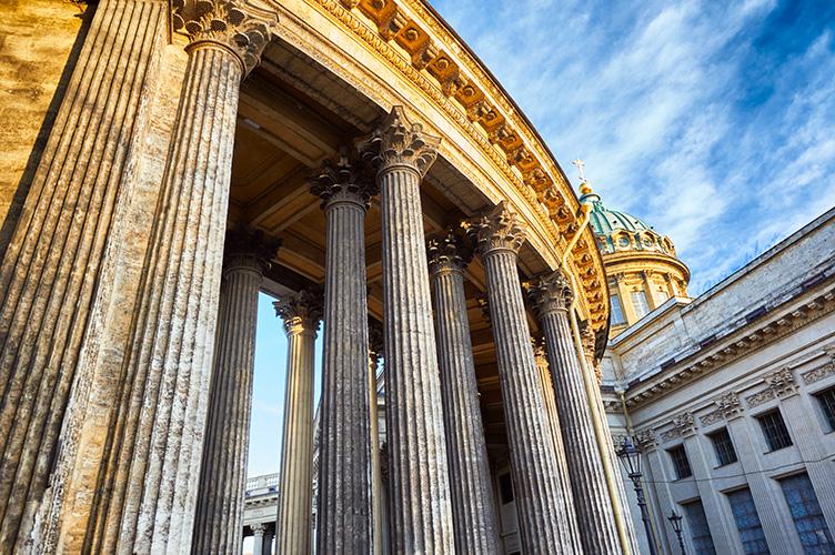 Saint Petersburg, Russia. 11 March 2014. Columns of Kazan Cathedral. © Igor Ilyutkin